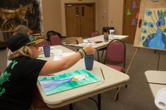 Working on a peacock watercolor during the 2 day summer camp for Watercolor I at the Chisholm Trail Heritage Center in Duncan OK