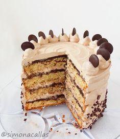 Tort cu banane ciocolata si Nutella Acest tort m-a marcat pe viaţă. Conţine un buchet fantastic de arome: banane, ciocolată, Nutella şi o tenta de vanilie Easy Cake Recipes, Baking Recipes, Cookie Recipes, Dessert Recipes, Nutella Chocolate Cake, Nutella Recipes, Pastry Cake, Cake Flavors, Cake Shop