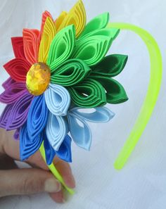 Flower Headband rainbowTsumami kanzashi by RibbonAndCrystals