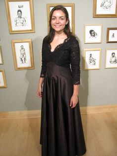 My daughter needed a long black dress for the university symphony.  This beauty was constructed of heavy corded scalloped lace with eyelash trim, interlined with black silk organza and underlined...