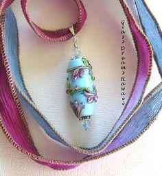 Beautiful Floral Lampwork Glass Pendant  Artisan Jewelry - Sky Blue - Glass Bead Necklace - Hawaii Lampwork Glass (48.00 USD) by GlassDreamsHawaii