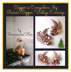 """""""Renoir Vintage Copper Earrings"""" by renaissance-fair ❤ liked on Polyvore featuring vintage"""