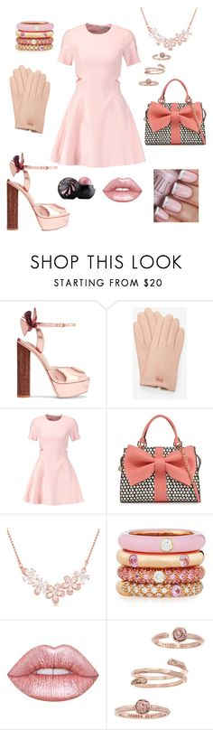 """""""pink bows"""" by stay-beautiful92 ❤ liked on Polyvore featuring Sophia Webster, Ted Baker, Elizabeth and James, Betsey Johnson, Adolfo Courrier, Lime Crime and Kendra Scott"""