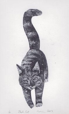Black Cat art Limited Edition Original HandPulled by ClareSherwen