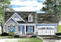 Just the right size for retirees or as a first home, this cottage house plan fits nicely on a small lot.The L-shaped open layout makes the home feel even larger.You can enjoy views of the family room fireplace while you cook dinner at the kitchen island.The master suite gains privacy with its secluded location and offers an elegant double tray ceiling, walk-in closet and double sinks in the master bathroom.Bedroom 2 faces the front of your lot and the study can double as a third bedroom…