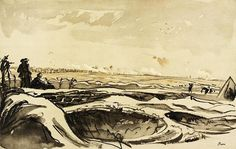Muirhead Bone, 'Watching our Artillery Fire on Trônes Wood from Montauban', 1918