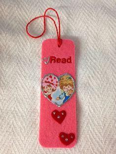 Read Heart Strawberry Shortcake Pink Felt Bookmark NEW Valentine's Day Gifts #Handmade