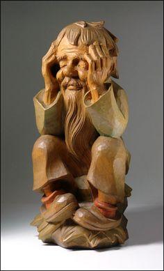Huge Bernardi Josef BeJo Italy Carved Wood Gnome by TwoGuysAndADog