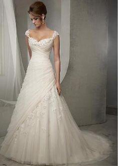 Buy discount Elegant Tulle Square Neckline Natural Waistline A-line Wedding Dress With Beaded Lace Appliques at Dressilyme.com by Dressilyme.com