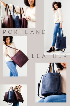 Portland Leather Goods - Tote bags, leather journals, passport covers, and other leather goods handmade in Portland, Oregon. Crossbody Tote, Leather Crossbody, Leather Purses, Leather Handbags, Women's Handbags, Leather Totes, Chanel Handbags, Spring Handbags, Work Bags