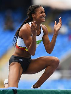 Nafissatou Thiam of Belgium reacts during the Women's Heptathlon High Jump on Day 7 of the Rio 2016 Olympic Games at the Olympic Stadium on August Heptathlon, Rio Olympics 2016, Summer Olympics, Fit Black Women, Commonwealth Games, Olympic Athletes, High Jump, Sporty Girls, Boxing Workout