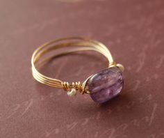 Pearl & Amethyst Ring 14K Gold Filled Wire by WrappedbyDesign