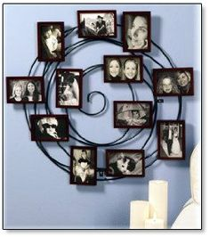 collage frames. I prefer collage frames or  selves with pictures vs. hanging family photos on the walls.