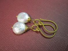 SALE  Simple White Coin Pearl Earrings with by Jenalynscreations