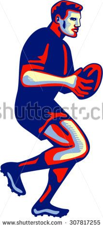 Illustration of a rugby player with ball running passing viewed from side set on isolated white background done in retro style. - stock vector #rugby #retro #illustration
