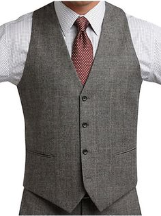 Suits - Jones New York Black and White Plaid Vested Modern Fit Suit - Men's Wearhouse
