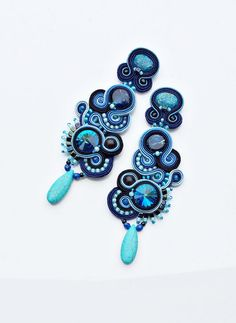 #soutache #ateliermagia  soutache earrings soutache dangles in sapphire and by AtelierMagia