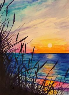 100 Easy Watercolor Painting Ideas for Beginners - Cheryl Richert - Pin Sharing . - 100 Easy Watercolor Painting Ideas for Beginners – Cheryl Richert – Pin Sharing – 100 Easy W - Watercolor Landscape Paintings, Watercolor Sunset, Watercolor Ideas, Watercolor Artists, Landscape Paintings Simple, Abstract Paintings, Landscapes To Paint, Beach Sunset Painting, Sunset Paintings