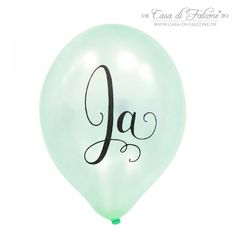 """5 Ja Luftballons zur Hochzeit, mint metallic: Die mintfarbenen, zart schimmernden Luftballons mit dem kalligrafischem Aufdruck """"Ja"""" dürfen auf keiner Hochzeit ..."""