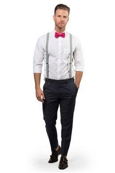 Hot Pink Bow Tie & Light Gray Suspenders for Groom, Groomsmen, Ring Bearer  #hotpink #fuchsia #fuschia #weddingideas #weddinginspiration #wedding #groomsmenattire #groomattire #groom #groomsmen #ringbearer #suspenders
