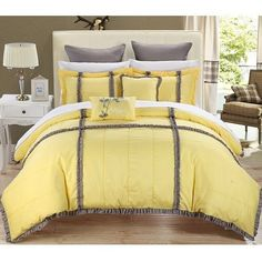 King Bedding Complete 7 Piece Set Bed Set Comforter Pillows Bedroom Decor Yellow #Chic