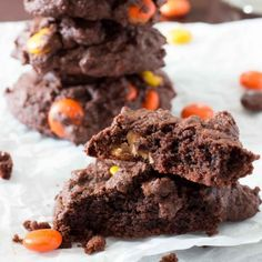 Chocolate Reese's cookies are cakey, brownie-like treats that are packed with peanut butter morsels and stay soft for days!