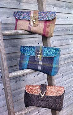Achei essas carteiras de lã (tweed) bem bonitas….Olha só o detalhe do fechamento! Uma ideia bacana ….