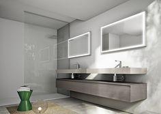 minimalistisch mit Waschtisch aus Holz mit grauer Optik