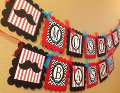 Mustache Bash Happy Birthday Banner - Red & White Stripes, Black Chevron and Teal Embellishments - Party Pack Specials Available
