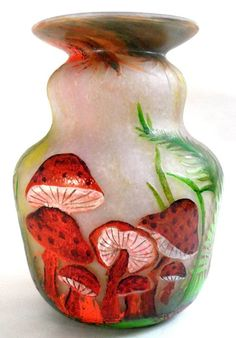 Daum Nancy Enameled Cameo Glass Mushroom Vase