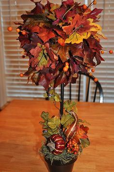 A tutorial on how to make your own Fall Topiaries ~ from Decor Chick