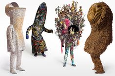 Nick Cave's Soundsuits have been called wearable sculpture: they use the body as a point of departure, then push it into unfamiliar places and shapes. Stemming from a costuming tradition that stretches from Renaissance pageantry to Mardi Gras parades, they can evoke African tribal dress, shaman robes, Surrealist assemblage sculpture and the mock-ecclesiastical fashion out of Fellini's Roma.