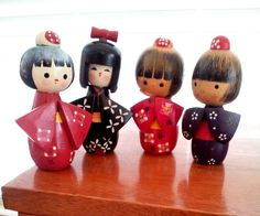 SALE Vintage Kokeshi Hand Painted Mid Century by hopscotchmemories