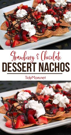 A clever twist on nachos! Dessert Nachos with strawberries and chocolate piled on sweet and crunchy cinnamon chips will be the hit of the party!  Print the full recipe at TidyMom.net