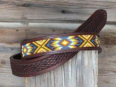 Beaded Leather Belt by Deesbeadeddogcollars on Etsy Cowgirl Belts, Western Belt Buckles, Western Belts, Western Style, Beaded Hat Bands, Beaded Belts, Beaded Jewelry, Beaded Earrings, Native Beading Patterns