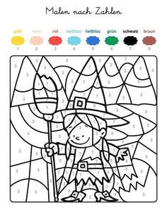 ausmalbild malen nach zahlen: halloween: kürbisse ausmalen kostenlos ausdrucken   malen nach