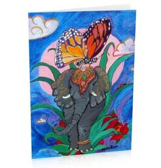 greeting card of elephant butterfly and ladybug with a by PiskyArt