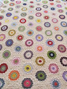 So much Hexagon LOVE!  — hexagon blanketbymabelrosemollyvia Flickr.