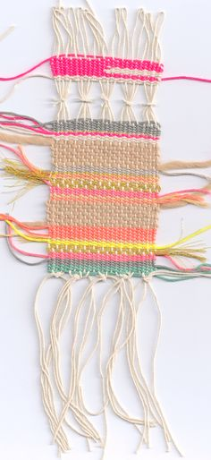 #weaving I like the gathered pieces, do this in the center of a weaving // Weaving bohemian boho art style textile