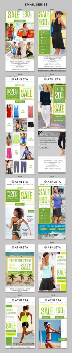 "Athleta | During Athleta's Semi-Annual Sale they message subscribers 10+ times. Seven of those emails feature ""Percent Off"" in the subject line. Additionally Athleta changes the From Name from ""Athleta"" to ""Athleta Semi-Annual Sale"" to attract attention in the inbox. 