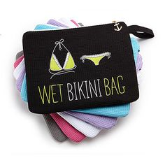 Waffle Wet Bikini Bag - Black.  The waffle fabric bikini bag is a fabulous gift for bridesmaids or for you ! - especially great for beach themed or destination weddings! The adorable bag is lined with a waterproof thin stripe pattern, has an interior zippered pocket to protect your cellphone and keys, and zips tight with a cute gold coloured anchor zip pull. Other colours available.