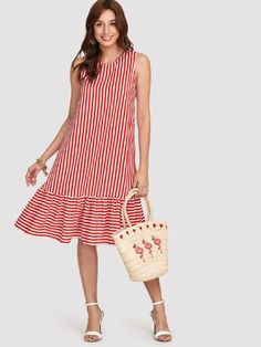 To find out about the Pinstripe Ruffle Hem Swing Dress at SHEIN, part of our latest Dresses ready to shop online today! Simple Dresses, Cute Dresses, Casual Dresses, Short Dresses, Fashion Dresses, Girls Dresses, Summer Dresses, Stripped Dress, Vacation Dresses
