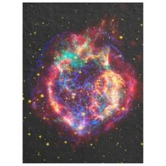 Galaxies, Stars and Nebulae series Cuddle up to the stars with this gorgeous fleece blanket. It features Cassiopeia A, the youngest supernova remnant in the Milky Way. In beautiful colors that show astronomers what's going on, you can just focus on how lovely it looks :). Perfect for those star-gazing evening under the sky or to just snooze curled up on the sofa! image code: cassasn