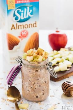 These Apple Cinnamon Overnight Oats are great for quick and busy mornings! They take 5 minutes of prep the night before and are so delicious! Vegan and GF!