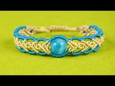 Wavy Herringbone Bracelet in two colors with a bead - Tutorial - YouTube