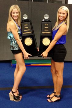 peyton mabry and carly manning with their worlds trophies. I want to be in that picture someday!