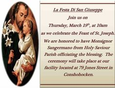You're Invited to our Annual San Giuseppe Festa Celebration and Blessing of the Bread Ceremony. #Tradition