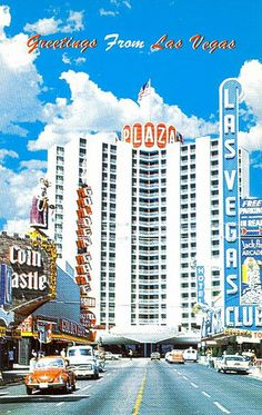 Greetings from Las Vegas!  Vintage postcard of Fremont Street and casinos loong before the canopy in old downtown.  The Coin Castle king is now in the Neon Boneyard.