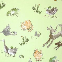Osborne and Little Menagerie Wallpaper By Quentin Blake.
