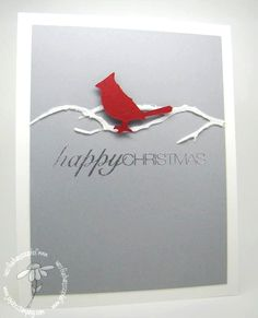 """Real Red, Smoky Slate cardstock; Memory Box branch die for the negative space template to create a branch using Ranger Embossing Paste sprinkled w/Ranger distress glitter to give shimmer & shine. It takes a little while to dry. Sentiment is vMark & silver EP. Add """"eye"""" to the Cardinal w/black marker. Create as Spring card w/Soft Sky & darker paste branch & a die cut flower or spring bird. Autumn/Fall, same w/die cut leaves."""